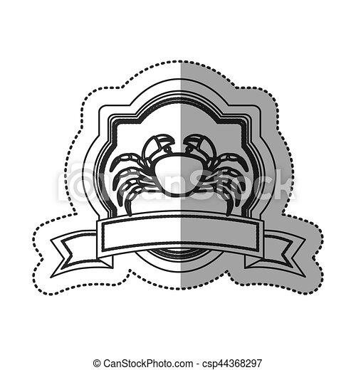 Seafood round stamp - csp44368297