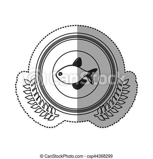 Seafood round stamp - csp44368299
