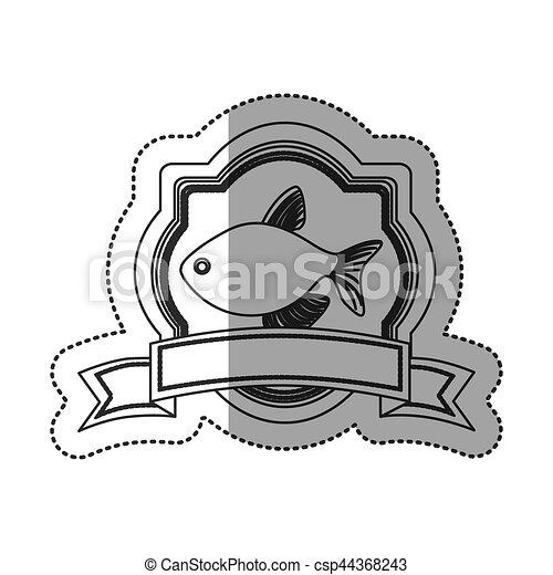 Seafood round stamp - csp44368243