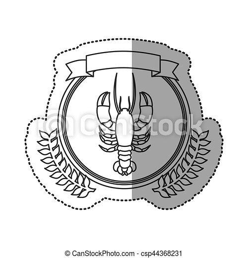Seafood round stamp - csp44368231