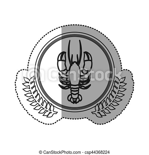 Seafood round stamp - csp44368224