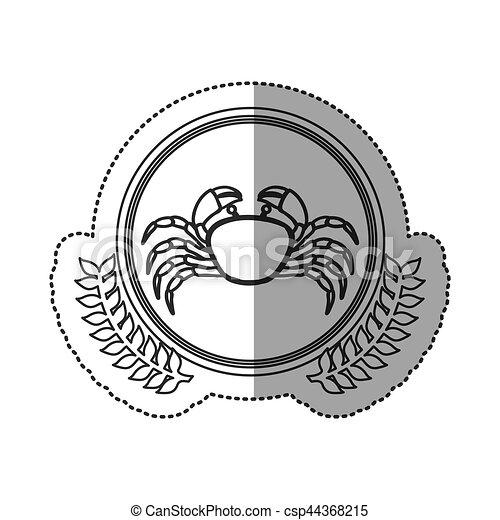 Seafood round stamp - csp44368215