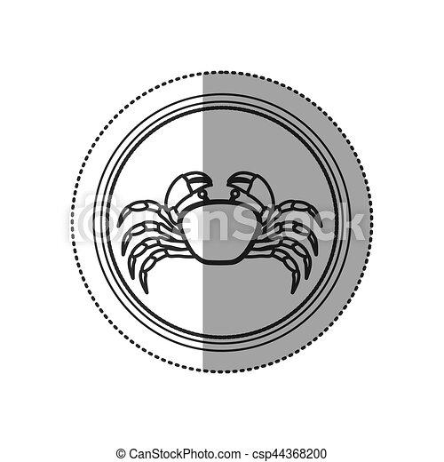 Seafood round stamp - csp44368200