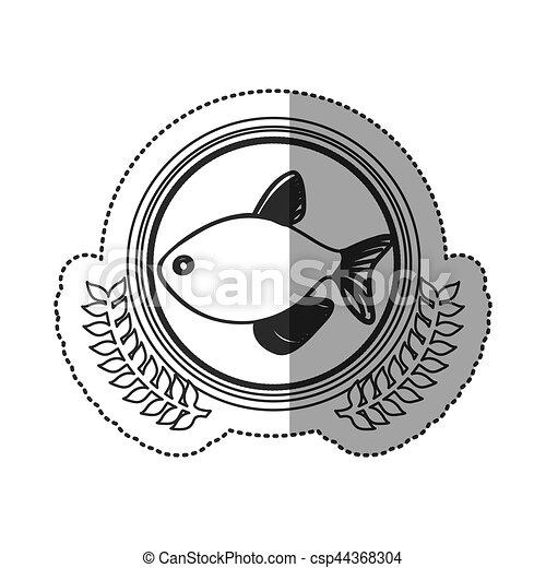 Seafood round stamp - csp44368304