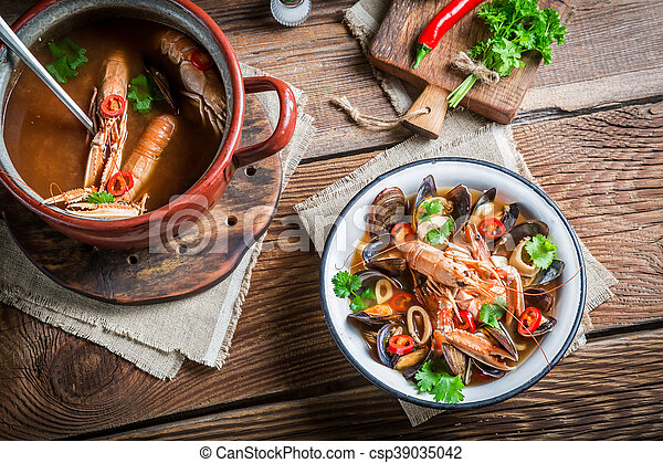 Seafood soup with shrimps and mussels - csp39035042
