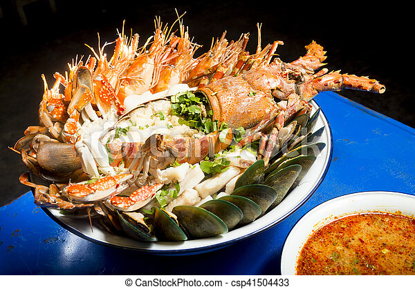 Seafood with spicy soup - csp41504433