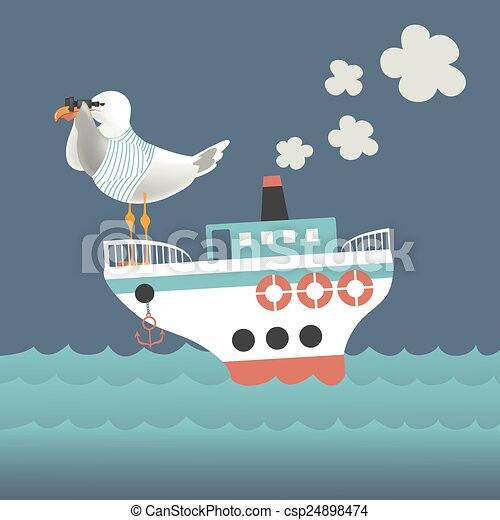 Seagull looking through binoculars on the vessel - csp24898474