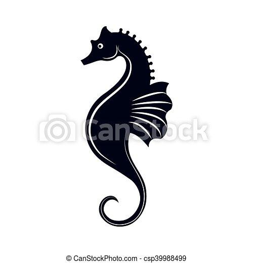seahorse aquatic animal ocean symbol silhouette vector eps rh canstockphoto com seahorse vectorial seahorse vectorial