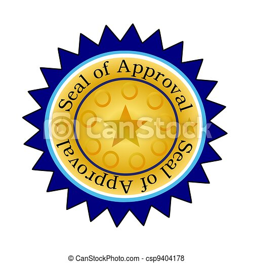 seal of approval w blue edging illustration of a golden seal of