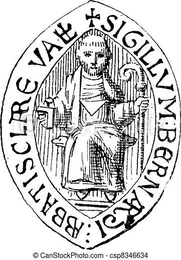 Seal of Saint Bernard, vintage engraving. - csp8346634