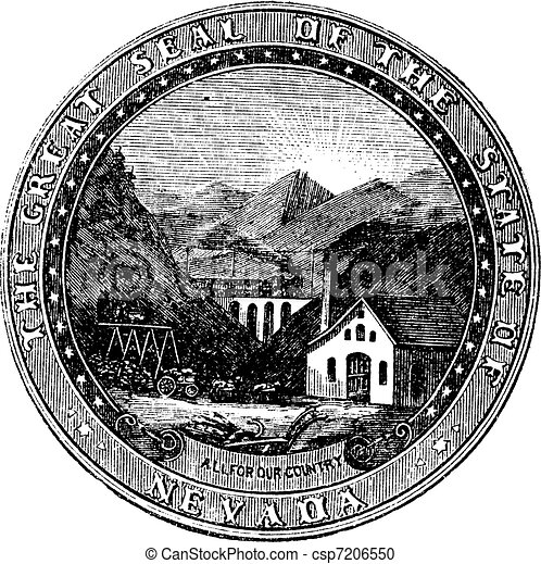 Seal of the State of Nevada, vintage engraved illustration - csp7206550