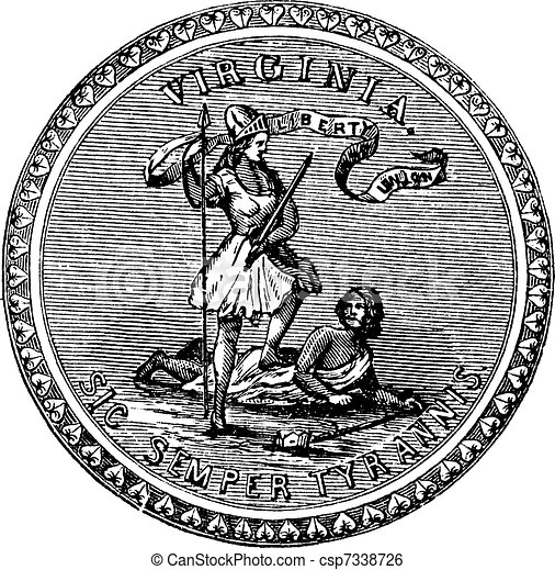 Seal of the State of Virginia, USA, vintage engraving - csp7338726