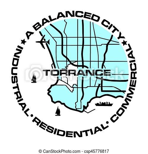 Seal of Torrance, California, USA. Vector Format. - csp45776817