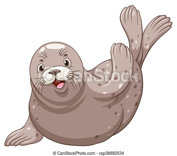 Seal with happy face - csp36682534