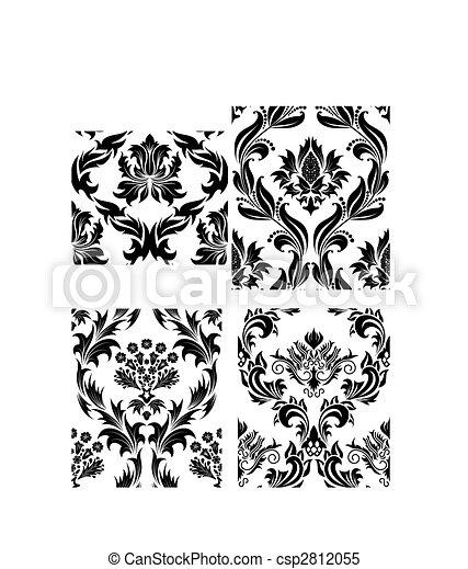 seamless, ダマスク織, パターン, セット - csp2812055