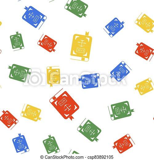 seamless, 色, 法令, 白, バックグラウンド。, スケール, パターン, ベクトル, 正義, アイコン, 隔離された, 法律書 - csp83892105