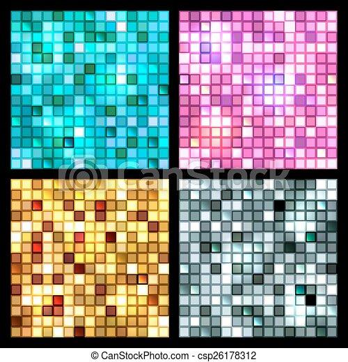 Seamless 4 Mosaik Spiegel Fliesenmuster Quadrat Blaues