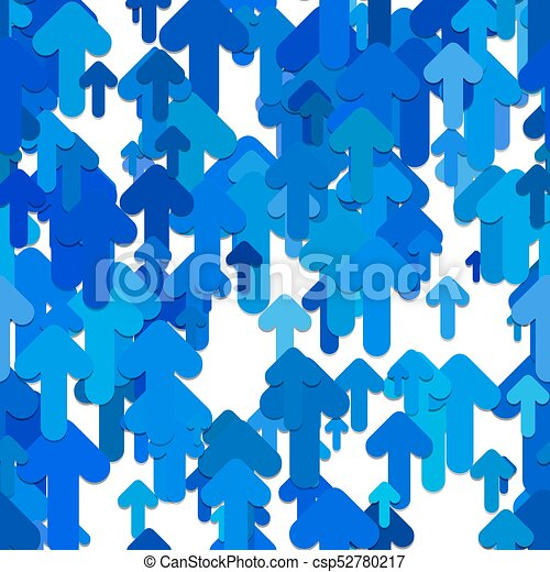 Seamless abstract arrow background pattern - vector design from blue rounded upward arrows with shadow effect - csp52780217
