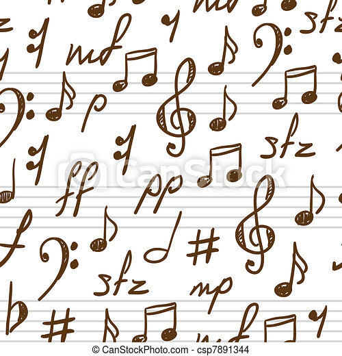 Seamless Abstract Background With Music Symbols Vector Eps