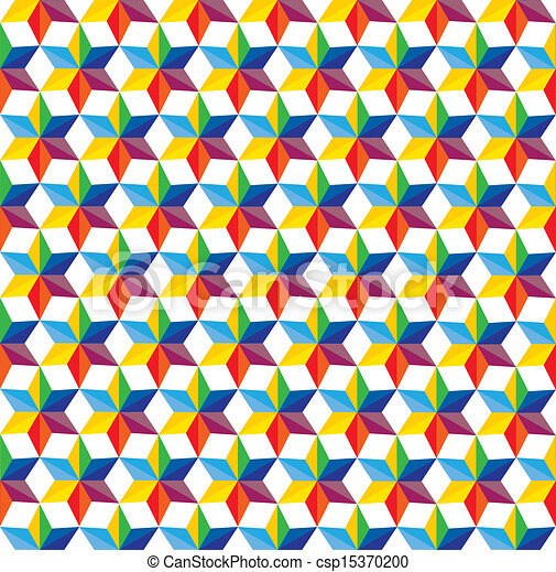 seamless abstract colorful background of star shapes- vector graphic. This illustration consists of repetitive star shapes in various hues & colors like yellow, orange, red, green, pink, blue, - csp15370200