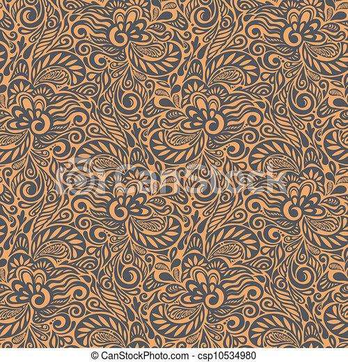 Seamless abstract curly floral pattern - csp10534980
