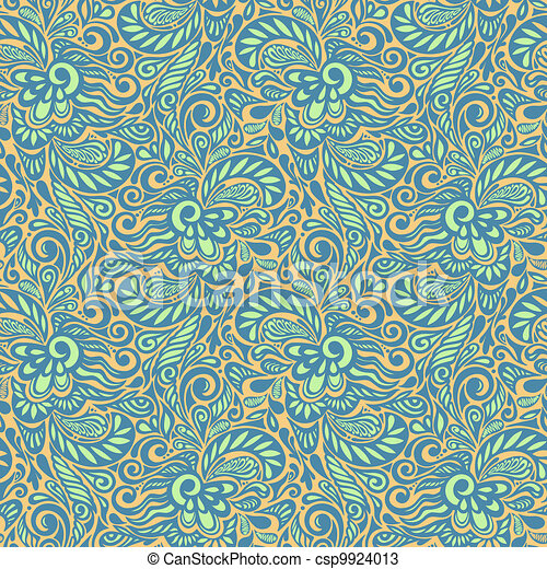 Seamless abstract curly floral pattern - csp9924013