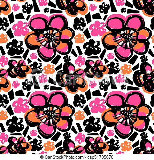 Seamless abstract floral ink hand drawn pattern - csp51705670