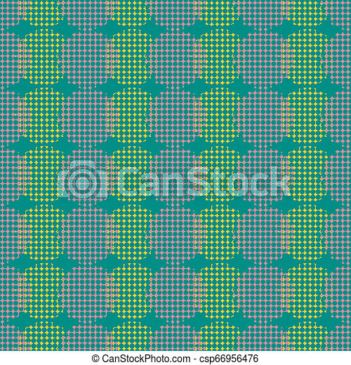 Seamless abstract retro geometric pattern. Blended circle and ovals in vertical layout. - csp66956476