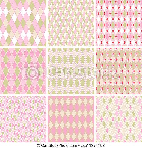 Seamless abstract retro pattern. Set of 9 geometric texture. - csp11974182