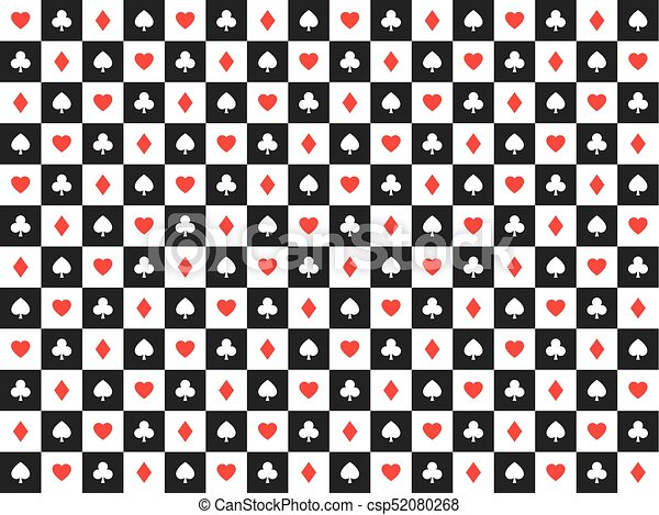 Seamless Abstract Vector Poker Background With Playing Cards Signs