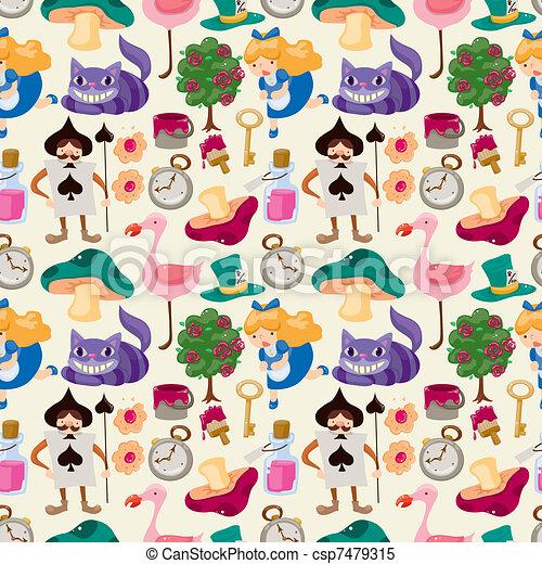 seamless Alice in Wonderland pattern - csp7479315