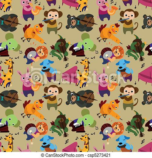 seamless animal music pattern  - csp5273421