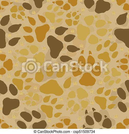 seamless animal track with gold dot glitter pattern background - csp51509734