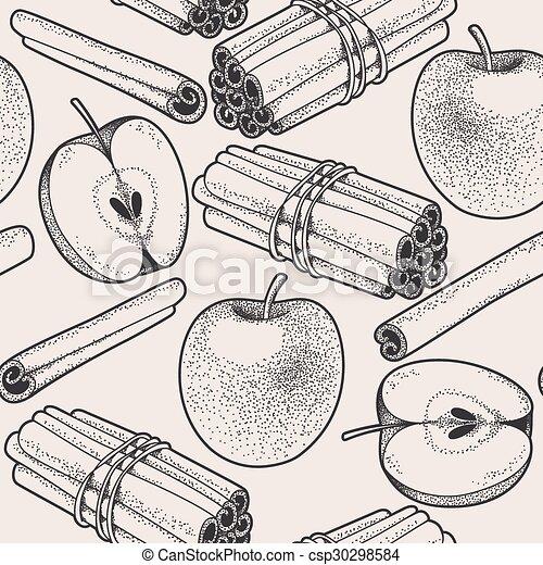 Seamless apple and cinnamon - csp30298584