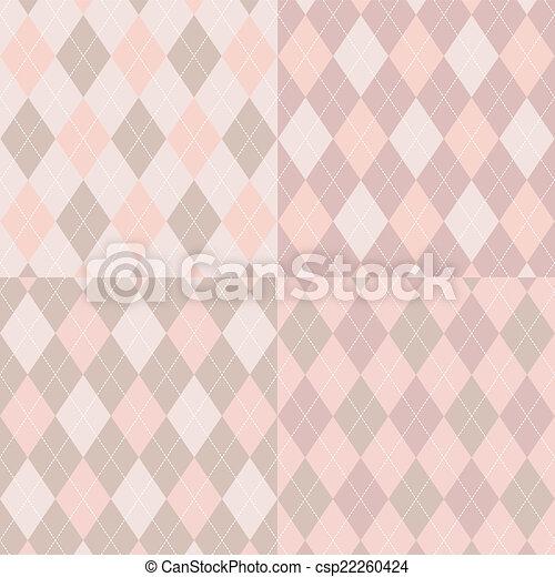 Seamless argyle pattern. Diamond shapes background. Vector set. - csp22260424