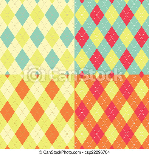 Seamless argyle pattern. Diamond shapes background. Vector set. - csp22296704