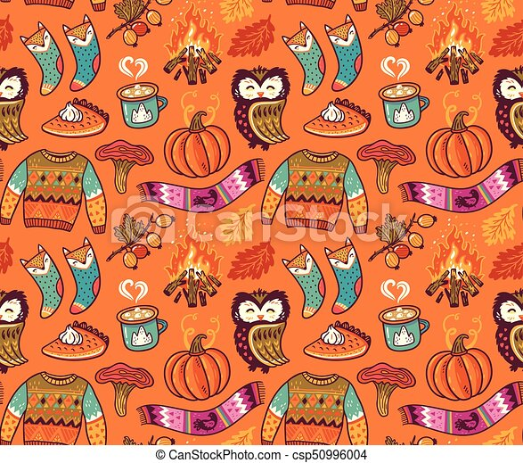 Seamless Autumn Background With Pumpkin Owl Pullover Bonfire And Other