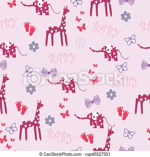 Pink Seamless Baby Background With Giraffe And Elephant For A Girl
