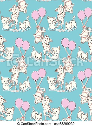 Seamless baby cats with a balloon pattern. - csp68299239