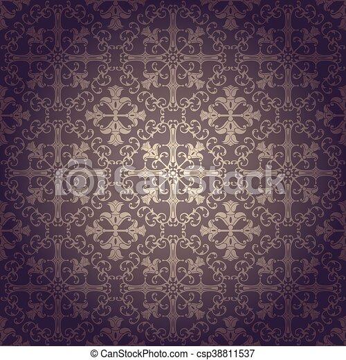 Seamless background baroque vector - csp38811537