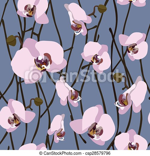 Seamless background from blossoming orchid flowers and stems - csp28579796