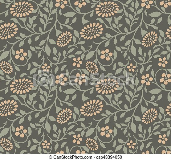 Seamless background image of garden green spiral leaf sun flower. - csp43394050