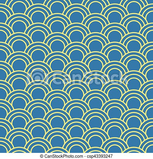 Seamless background image of oriental fish scale round curve line - csp43393247