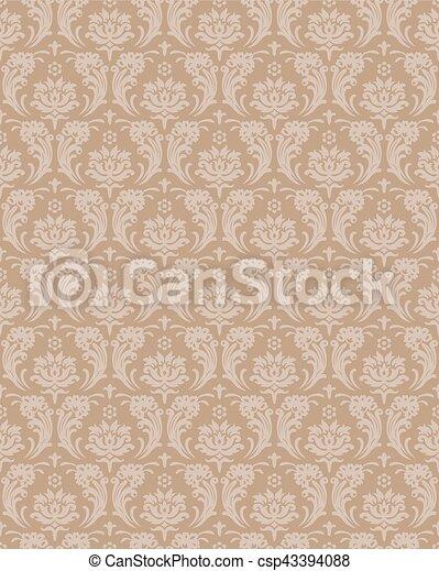 Seamless background image of vintage spiral cross flower leaf wall paper. - csp43394088