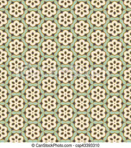 Seamless background image of vintage green polygon flower cross - csp43393310