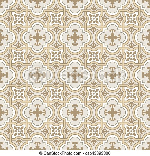 Seamless background image of vintage curve cross geometry frame flower - csp43393300