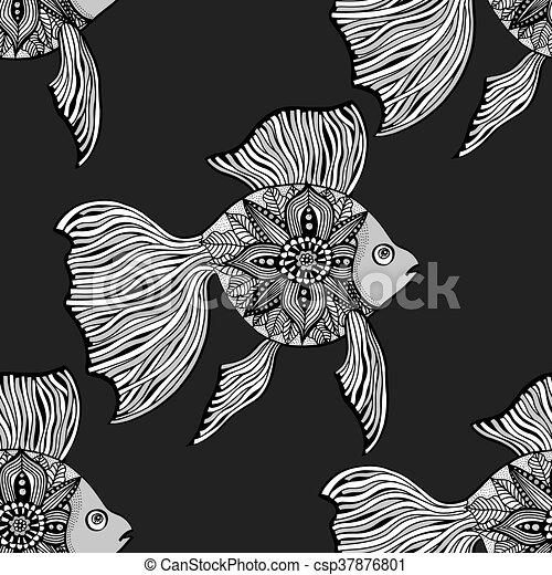 Seamless Background Of Abstract Fish Pipefish And Small Fish