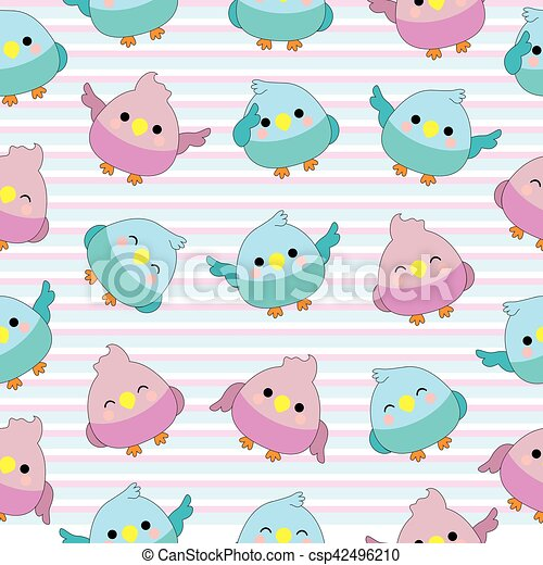 Seamless Background Of Baby Shower Illustration With Cute Baby Birds On Pink And Blue Stripes Background Suitable For Baby