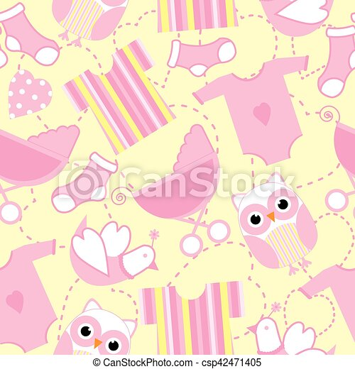 Seamless Background Of Baby Shower Illustration With Cute Pink Tools And Owl On Yellow Suitable For Wallpaper Postcard Scrap