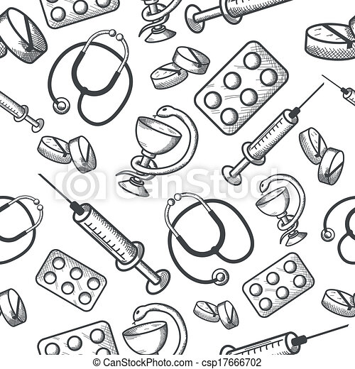 Seamless background of medical items - csp17666702